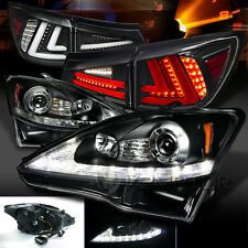 06-08 Lexus IS250 Black LED DRL Signal Projector Headlights+LED Tail Lamps