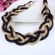 US Black Golden Mix Link Chain Fashion Rows Layers Torsade Bib Necklace Gift