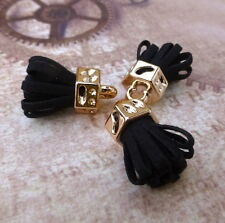 Pack of 5 Black Suede Tassel Pendants Gold Plated Tassel Charms