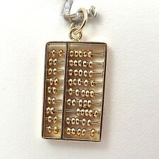 14K YELLOW GOLD 3D MATH ABACUS ARTICULATED  CHARM PENDANT 2.6gr