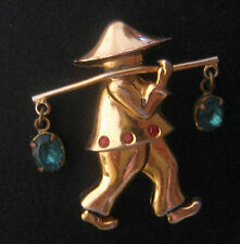Vintage Asian Water Carrier W/ Rhinestones Pin – CORO Pegasus Book Piece