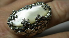 STERLING SILVER CAROLYN POLLACK FLOWERS WHITE MOTHER OF PEARL MOP RING SIZE 7