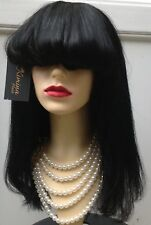Full cap Wig Fringe 100% Top Quality Premium Human Hair Colour 1B 300g 18''