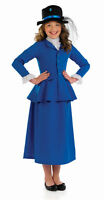 GIRLS VICTORIAN EDWARDIAN LADY BLUE FANCY DRESS COSTUME OUTFIT & HAT 4-6-8-10-12