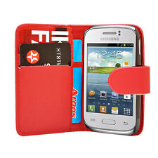 red WALLET Leather Case Phone Cover Samsung Galaxy Young GT S-S6310L GT S6310N