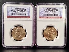 TWO 2007 P&D Presidential $1 Washington coins NGC BU 1st Day Issue