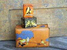 Vintage Antique Tins Canisters Birds Advertisig Metal Box (Hartz-Canco-other)