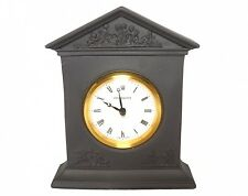 Wedgwood Clock - Black Basalt Jasperware Mantle Clock - Swiss Movemnet Boxed