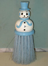 """Vintage BLUE SNOWMAN CLOTHES BRUSH Painted Wooden FIGURAL Whisk 7"""" Tall c. 1940"""