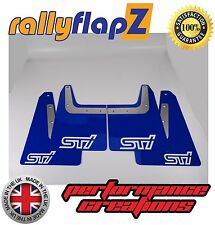 rallyflapZ SUBARU FORESTER STi (04-08) 2nd Gen Mud Flaps Blue STi White 4mm PVC