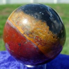 AMAZING Tri Color Agate Stone Sphere Crystal Ball Stone Black Red Yellow Combo