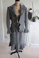 HOBBS UK 14 Grey Wool Tweed Pencil Skirt Suit Ruffle Frayed Hem