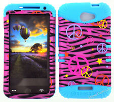 KoolKase Hybrid Silicone Cover Case for HTC One X S720e - Peace Zebra Pink