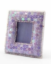 """Small Lilac Sequin Mini Photo Frame Dining Room, Fabric, 1x2"""", Asian/Oriental"""