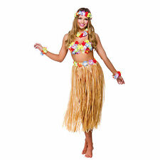 Hawaiian Party Girl 5 Piece Kit Beach Party Lei Grass Hula Skirt Outfit