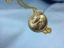 COIN JEWELRY US NEW HORSE AND INDIAN DOLLAR GOLD PENDANT and FREE silk necklace
