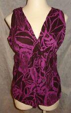 A.N.A. Magenta Purple Brown Floral Tank Top Blouse Shirt XL 14 16 18 Tropical