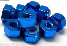 NM410B M4 4mm Nylon Alloy Aluminium Lock Nuts x 10 Wheel Axle 1/10 Blue