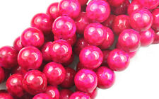 16 INCH STRAND HOT PINK FOSSIL BEADS 10MM