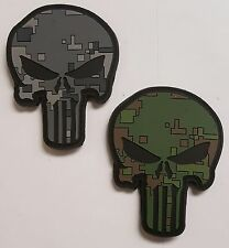 Lot 2: Punisher Skull Green & Gray Digital Camo Pattern PVC Patch