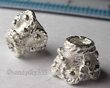 2x STERLING SILVER BRIGHT FLOWER END CAP CONE SPACER BEADS #075