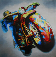 120cm  VINTAGE MOTORBIKE RIDER racer BIKE OIL PAINTING QUALITY LARGE