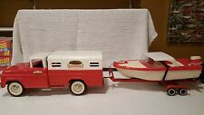 """TONKA"" Ford Deluxe RED  Fisherman Pick-Up Truck w/Clipper Boat/Trailer Set 1961"