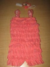 Coral Petti Lace Romper & Headband Baby Toddler Cake Smash Outfit 9-12 Mo.