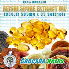 100% ORGANIC REISHI  SPORE EXTRACT OIL  (350:1)  500mg x 35 Softgels