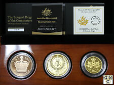 2015 Gold Set of 3-The Longest Reigning Commonwealth Monarch Proof Coins(17461)