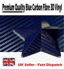 1000mm x 500mm Dark Blue 3D Textured Carbon Fibre Vinyl Film - Car Wrap Sticker