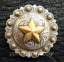 "WESTERN SADDLE ANTIQUE GOLD STAR BERRY CONCHO 1-1/2"" screw back"