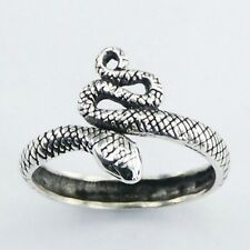 Great Solid Sterling Silver Coiled King Cobra Snake Serpent Ring Size 6