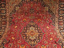 9.3 x 12.4 Handmade Antique SIGNED Persian Tabriz Wool Rug