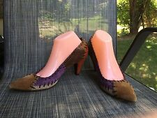 MIU MIU MULTI COLOR LEATHER HEEL WOMEN'S SHOES SIZE 40 /9.5 US ITALY MADE $650