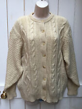 Vintage 90s Oversized Cream Cable Fisherman Aran Wool Cardigan Medium Renewal