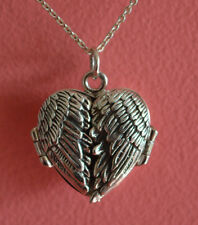 925 Sterling Silver Oxidized 3D Locket Angel Wings Message Pendant Necklace