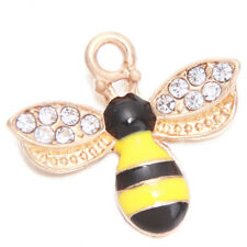 50pcs Gold Plated Yellow&Black Enamel Bee Insect Craft Alloy Charms Pendants D