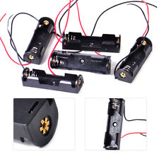 Black 5pcs Plastic Battery Holder Box Storage Case with Wire for 1 x 1.5V AA