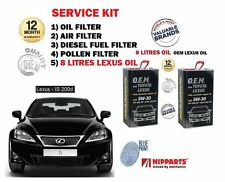 FOR LEXUS IS200D 2.2DT 2010- NEW OIL AIR FUEL POLLEN FILTER SET + 8 LITRES OIL