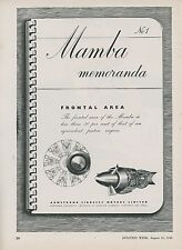 1948 Armstrong Siddeley Motors Ad Mamba Aircraft Engine Aviation England British