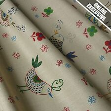 Mushroom Linen Look 100% Cotton Fabric Musical Birds Cottage Collection *Per Mtr