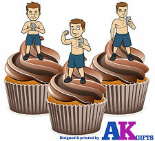 12 x Selfie iPhone Sexy Male Muscle Mix Fun Edible Cake Toppers Decorations