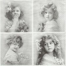 2 Serviettes en papier 4 fillettes Sagen Vintage - Paper Napkins 4 Flower Girls