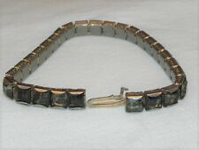 "Vintage Art Deco Square Gray Colored Rhinestone Silver Tone 7"" Bracelet"