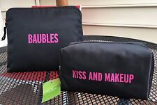 2 NWT Kate Spade BAGS KISS & MAKEUP Cosmetics BAUBLES Jewelry Organizers RT$135