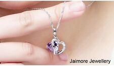 925 Sterling SILVER Amethyst Purple HEART Crystal NECKLACE + Free Gift Pouch