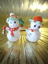 VTG Napco Mini Miniature Christmas Mr. & Mrs. Snowman Bone China Figurines Set