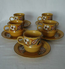 Earthy Vintage Fine Seyei Japan Stoneware Tea Cup & Saucer Duos x 5 *Newstone