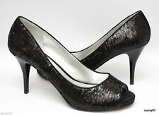 Nib Guess WILLS 4 Sequin Open Toe Pump Heel Shoe Black 6